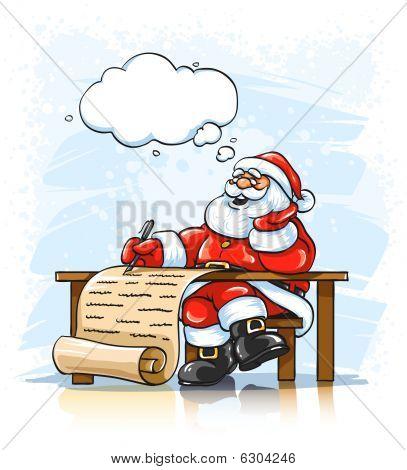 Santa Claus Writing Christmas Greeting Letter