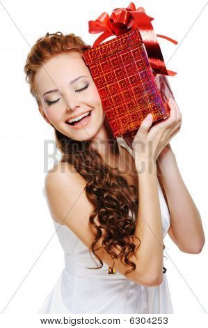 Cute Girl Holding Present