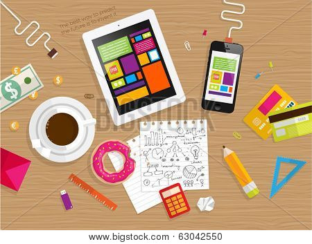 Set of Flat Design Icons. Mobile Phones, Tablet PC, Marketing Technologies, Mobile Apps, Email, Video Services and Money Management. Concept Icons for Web Site Design. Top View of Table with Coffee.