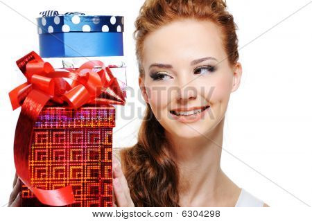 Happiness Of A Young Girl With Presents