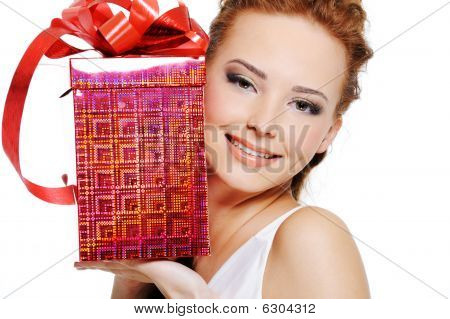 Attractive Female With Present