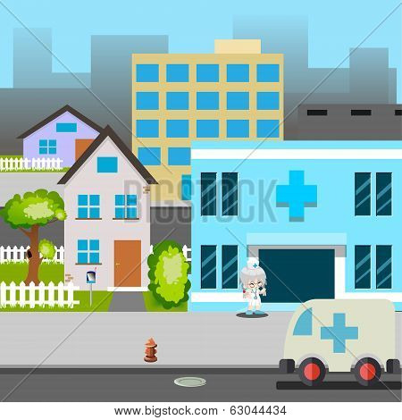 Cartoon Street Hospital Ambulance Car Doctor Vector Illustration