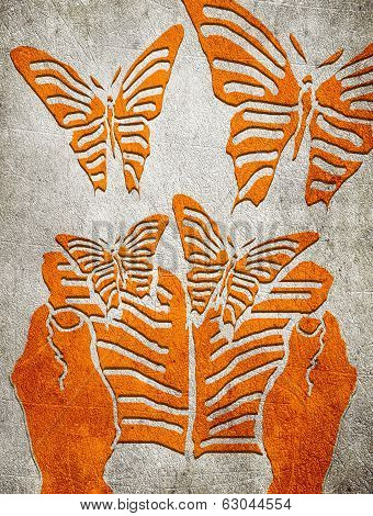 Reading Concept Orange On Gray Digital Illustration