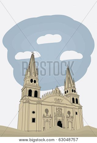 Cathedral in historic center in Guadalajara, Jalisco, Mexico, vector illustration