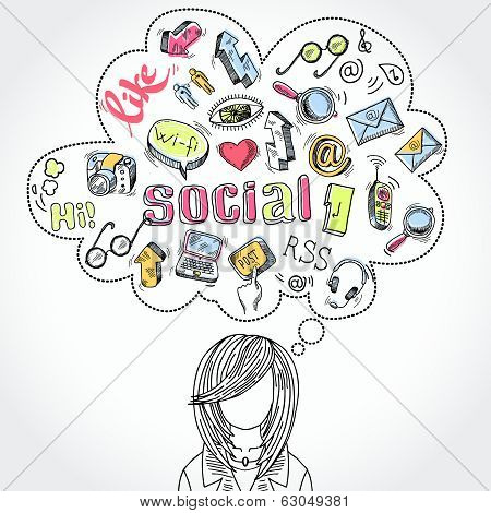 Doodle social media dreams and thoughts