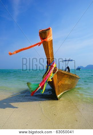Traditional Longtail Boat On Koh Phi Phi Leh Island, Krabi, Thailand