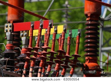 Electrical Connectors Red Green And Yellow For Connection The Power Plant 1