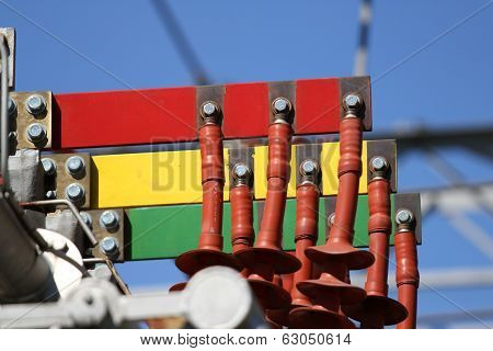 Electrical Connectors Red Green And Yellow For Connection To Three-phase System In The Power Plant