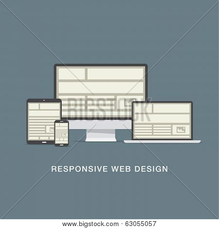 Responsive web design grid and flat icons vector