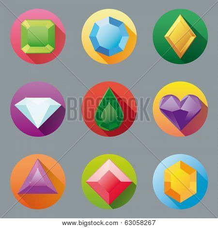 Flat Design Gem Icon Collection. Set of nine flat design gem vector icons.