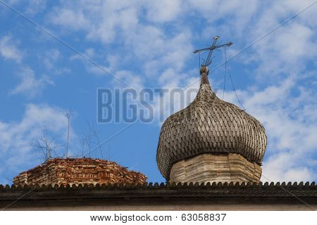 Roof of dilapidated church
