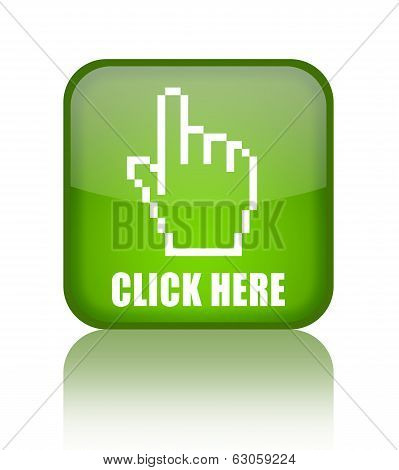 Click here green glass button