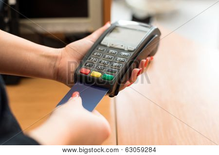Woman Pay By Credit Card