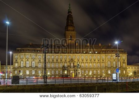 Christiansborg Palace In Evening, Copenhagen