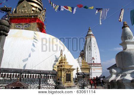 People Walk Around Stupa