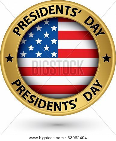 Presidents Day Gold Label With Usa Flag, Vector Illustration