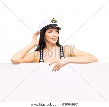 Young, beautiful and sexy sailor girl isolated on white background
