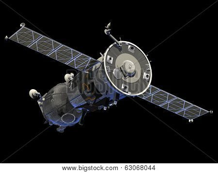 Spaceship With Open The Solar Panels.