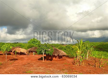 Naiopue, Mozambique - December 7, 2008: The Settlement. A Residential Building.