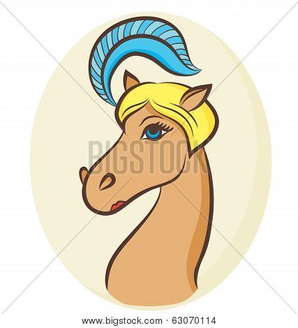 Vector Illustration Of A Blondy Horse - The Symbol Of 2014