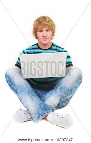 Young Guy With Laptop Isolated Over White