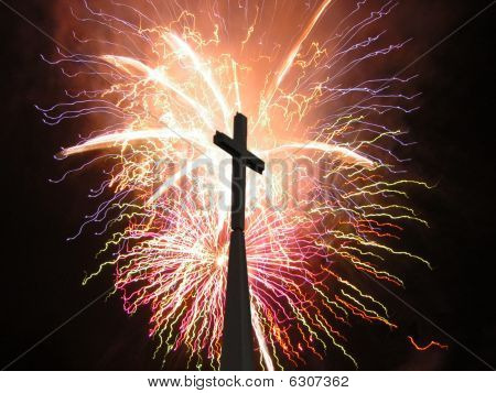 Church Steeple and Fireworks
