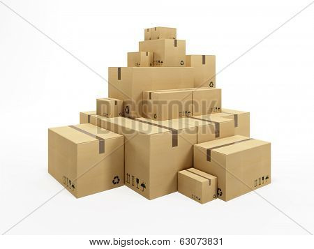 pile of cardboard box, 3d render