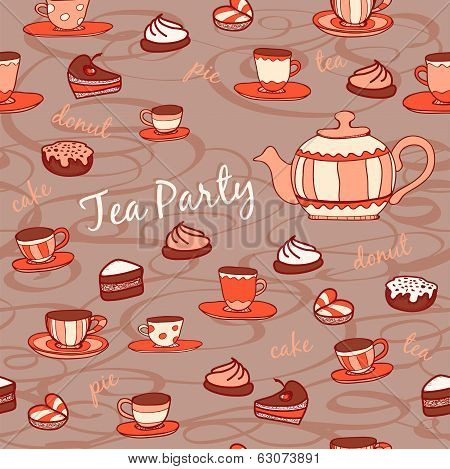 Tea party. Seamless pattern