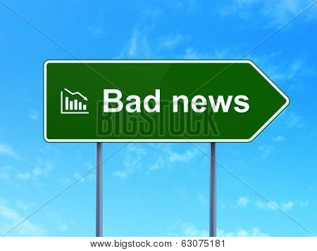 News concept: Bad News and Decline Graph on road sign background