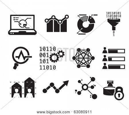 Data analytic icon set  // BW