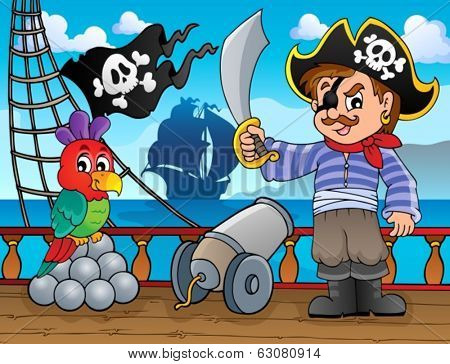 Pirate ship deck topic 3 - eps10 vector illustration.
