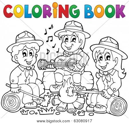 Coloring book scouts theme 1 - eps10 vector illustration.