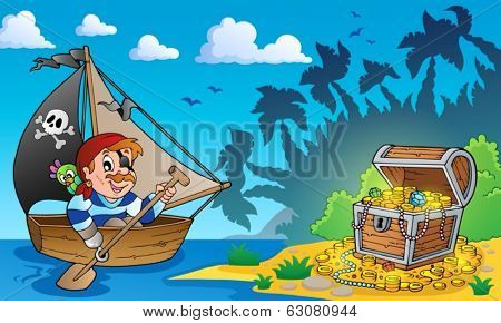 Pirate theme with treasure chest 3 - eps10 vector illustration.