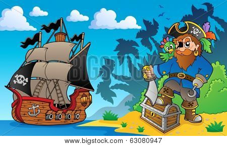 Pirate on coast theme 2 - eps10 vector illustration.
