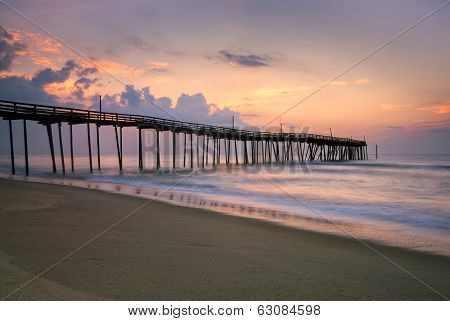 Sunrise at fishing pier on the Outer Banks, North Carolina