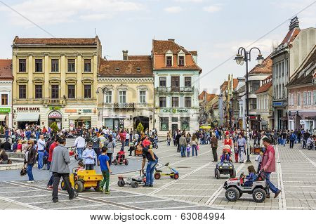 Crowded Council Square, Brasov, Romania