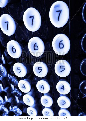 Detail of number keys on old adding machine