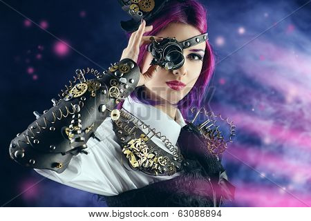 Girl in a stylized steampunk costume posing on a dark background. Anime.