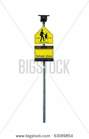 School Zone Warning Sign And Light