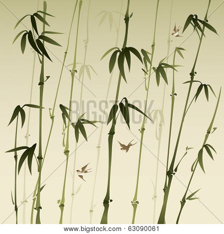 bamboo forest, vectorized oriental style brush painting