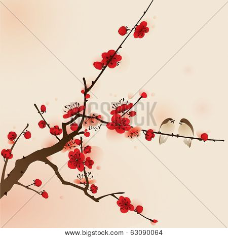 plum blossom, vectorized brush painting, symbolize love and happiness