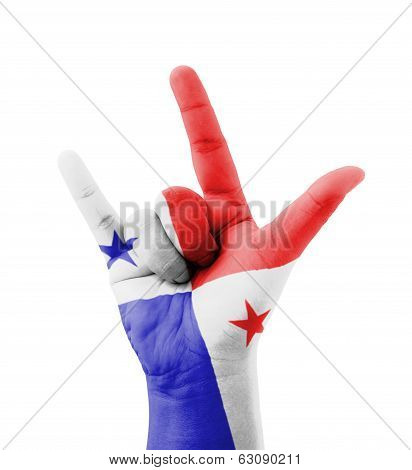 Hand Making I Love You Sign, Panama Flag Painted, Multi Purpose Concept - Isolated On White Backgrou