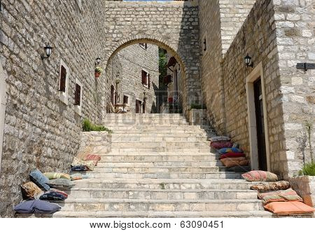 stairs and stone arch in Ulcinj Old Town, Montenegro