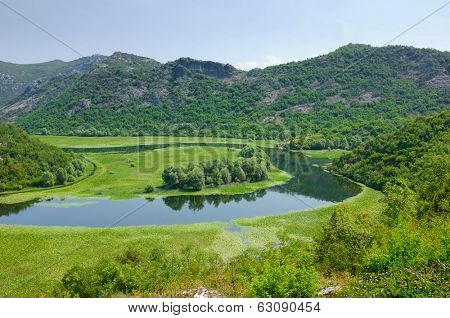 a bend of the Crnojevica River from Rijecani; this is a tributary of Skadar Lake, Montenegro