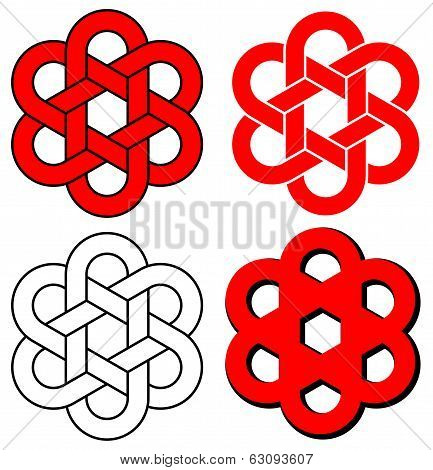 A Six-loop Knot Isolated On White Background