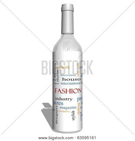 Fashion 3D Bottle Word Cloud Concept