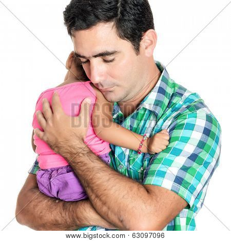 Tired hispanic father carrying his small daughter isolated on white