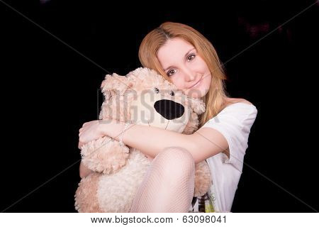 Girl Bear Hugs