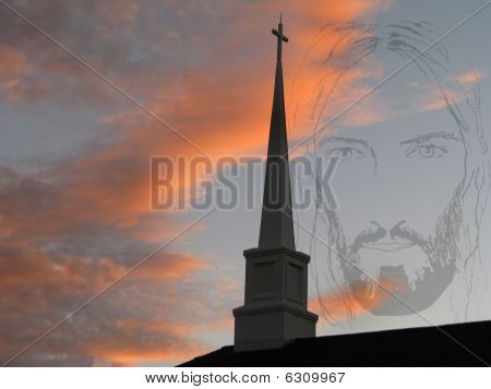 Church Steeple And Jesus