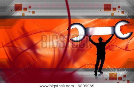 man lifting a spanner